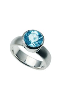 Triangel Ring mit Blautopas W54